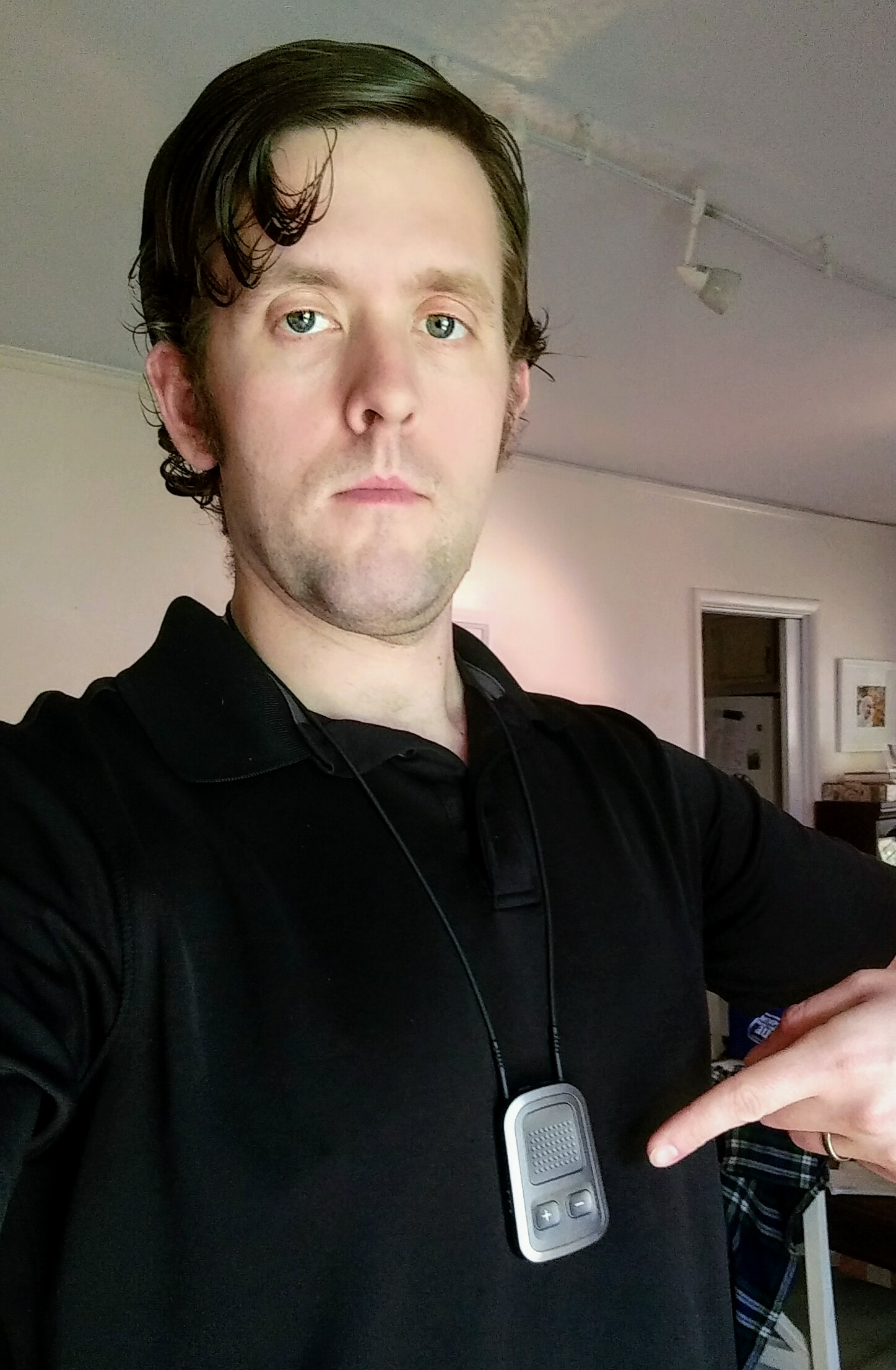 selfie of the author wearing a udirect 3 pendant